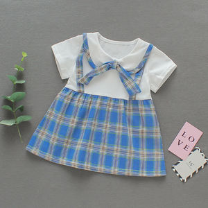 2020 Alibaba hot sale Plain Bow pattern kids clothing baby girls cotton casual daily dress designs