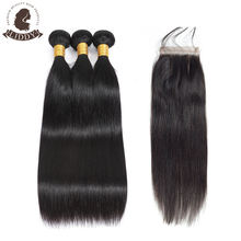 "LIDDY Brazilian Hair Bundles Straight /Body Wave Bundles With Closure Remy Cuticle Aligned Hair Extensions Natural Color 8""-30"""