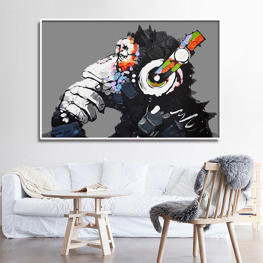 Street Art Oil Painting Banksy Monkey Canvas Decorativos Pop Art Love Graffiti Picture Print Abstract Wall Art Poster Home Decor