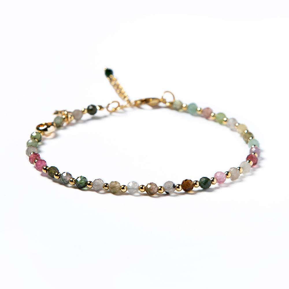 Bestone 3mm Natural Stone Bracelet Colorful Tourmaline Bracelet with Real Gold Spacers for Ladies