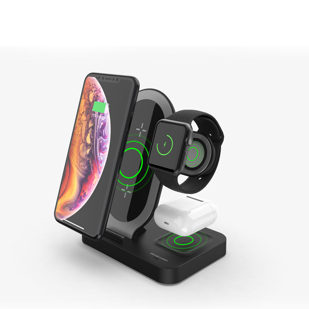 2019 amazon best seller dual charging qi wireless charger holder 3 in 1 charging station 3in1 wireless charger disinfection box