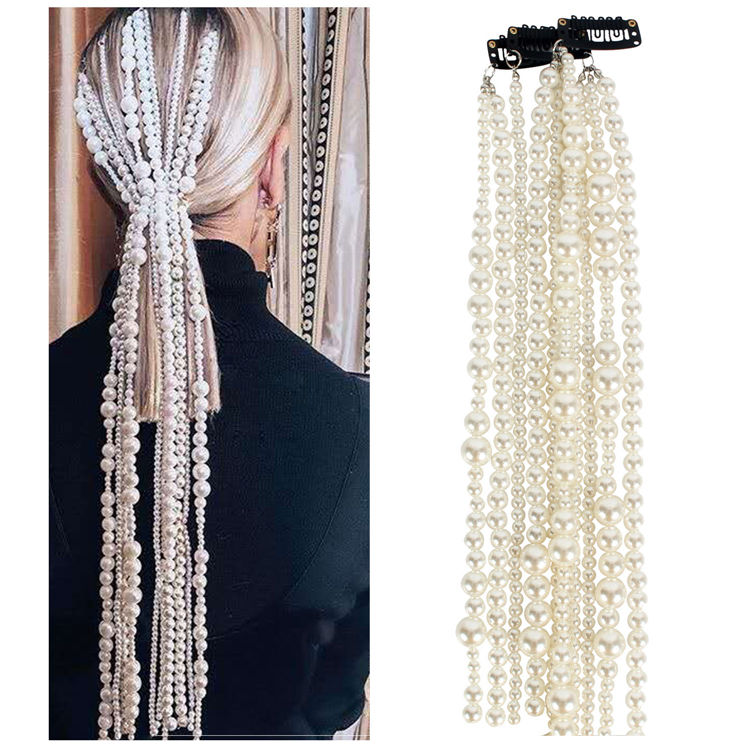 Women Pearl Beaded Hair Chain Head Accessories Long Tassel Pearl Hair Chain