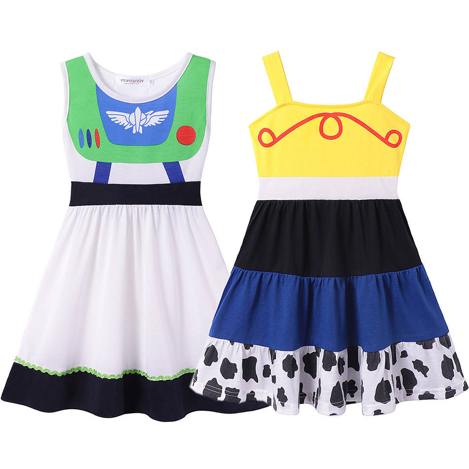 Fancy Cartoon Movie Toy Story Space Ranger Buzz Jesse Cotton Dress for Baby Girls Party Holiday Clothes