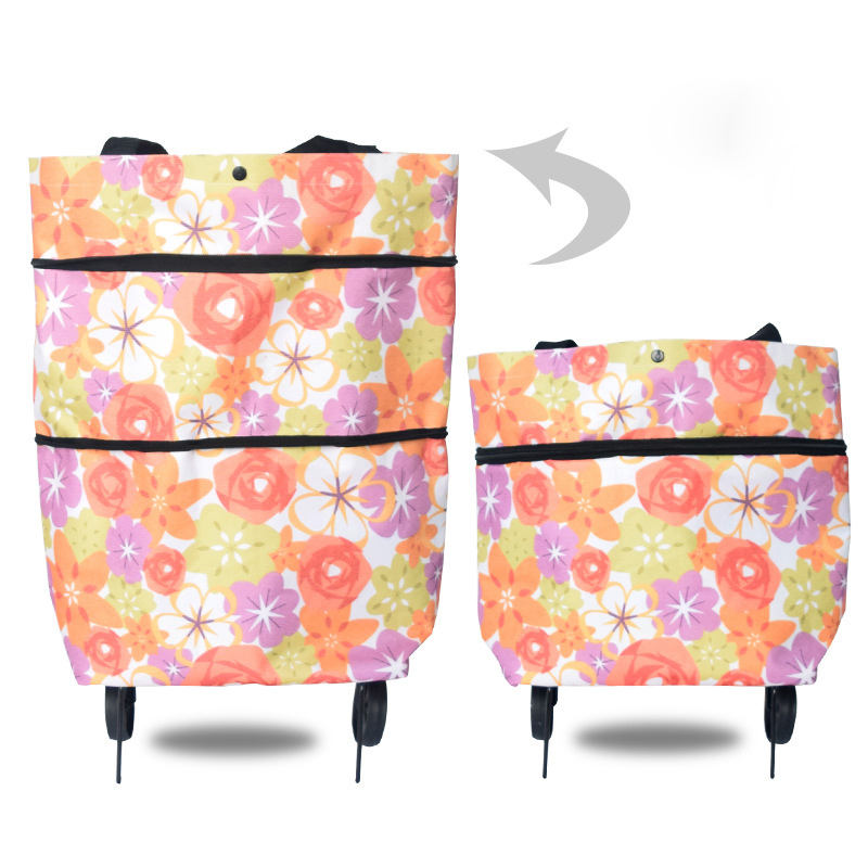 Eco Friendly Reusable Trolley Foldable Shopping Bag Waterproof Oxford Hand Pull Folding Supermarket Grocery Shopping Cart Bag