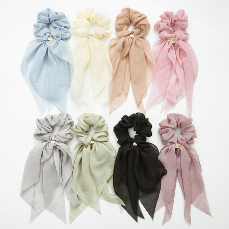custom color and size soft chiffon silk scrunchies with metal ring