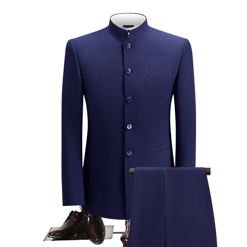 Chinese Tunic Men Suits Stand Up Collar Tang Suit Formal Wedding Dress Suits Slim Fit For Men