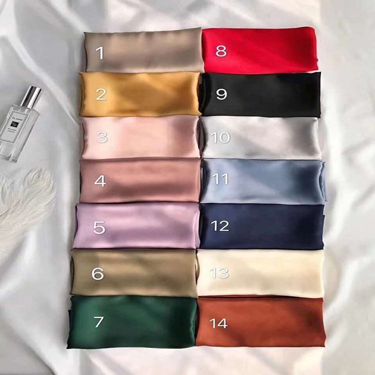 Simple but elegant smooth long neck solid color women silk scarves from china