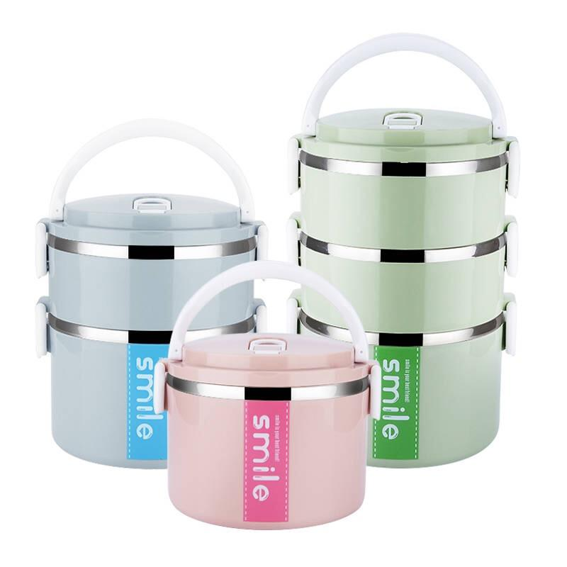 2020 cheap 3 layer lunch box food container double wall tiffin stainless steel insulated thermal food children lunch box