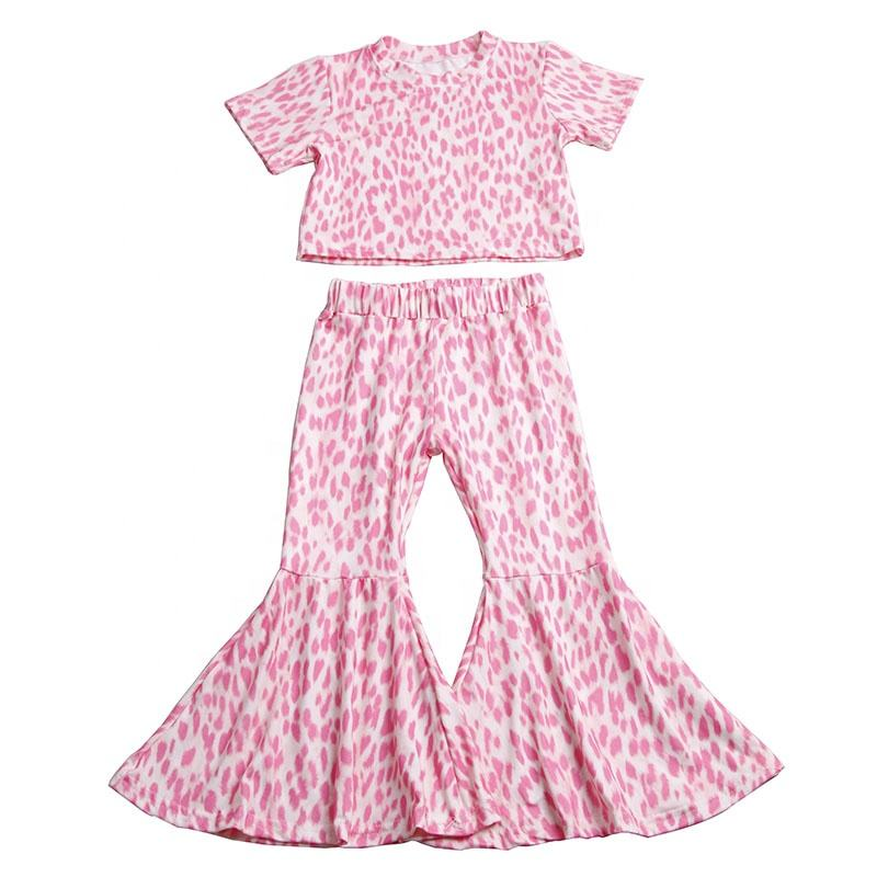 Winter Clothes For Children Pink Leopard Short Sleeve Shirts Tops Bell Bottoms Fall Kids Clothing Toddler Girls Clothes Sets