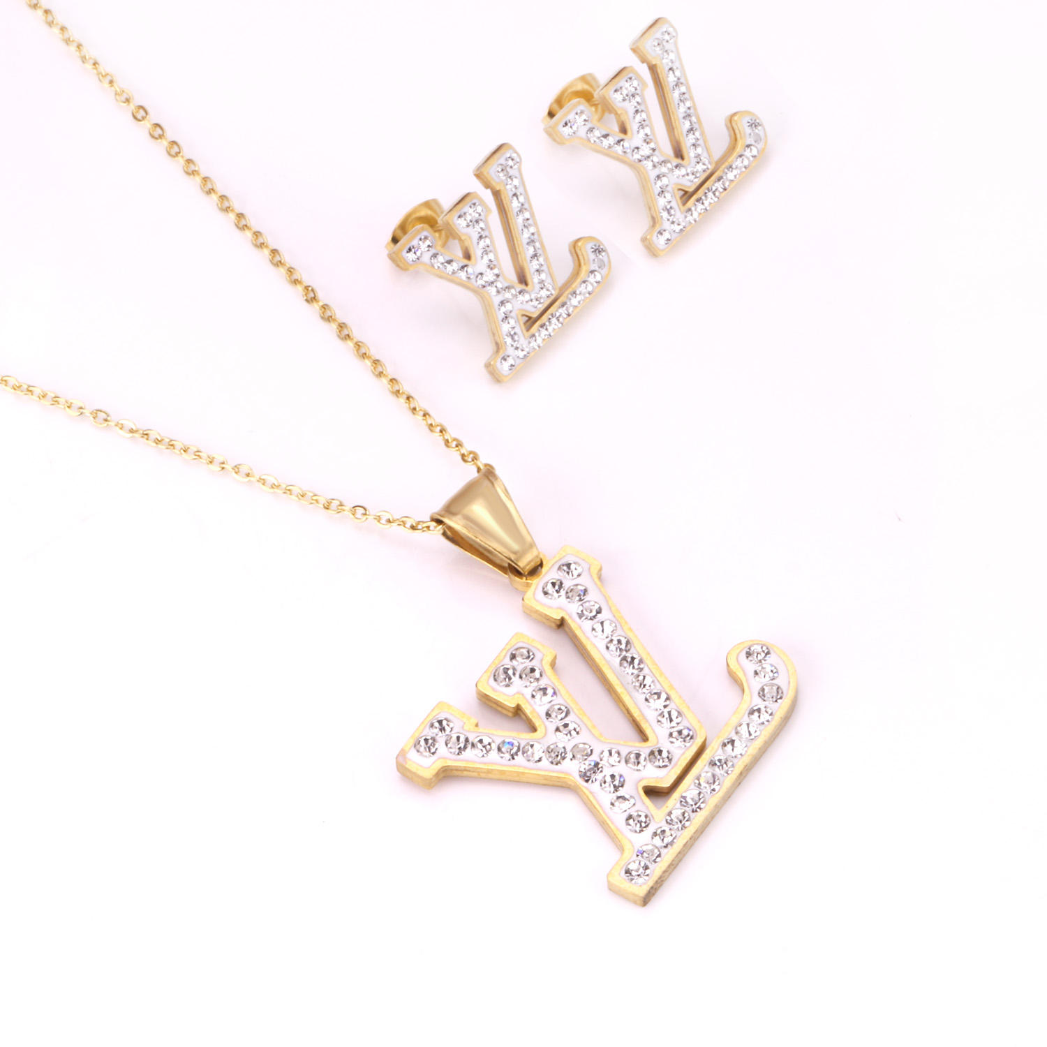 Charm Famous Women Letter Earrings and Pendant Statement Gold Plated Jewelry Sets Stainless Steel Jewelry Set