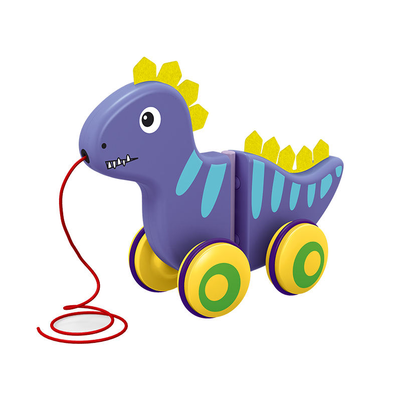 Amazon hot sales New Design Kids educational toy Push Pull Along Walking Line Toy Pull Line String Dinosaur Toy