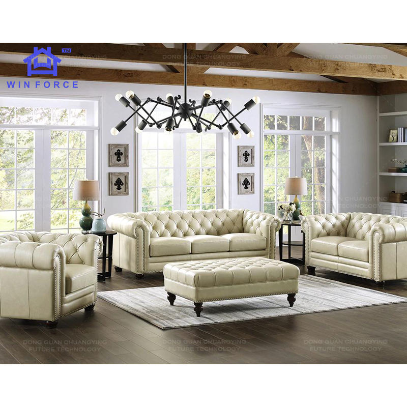 Luxury Design Office Sofa Set Furniture Living Room Leather Chesterfield 3 Seater Sofa Loveseat Single Sofa