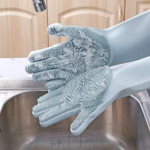 Sweettreats A pair Dishwashing Gloves Kitchen Silicone Cleaning Gloves Magic Silicone Dish Washing Gloves