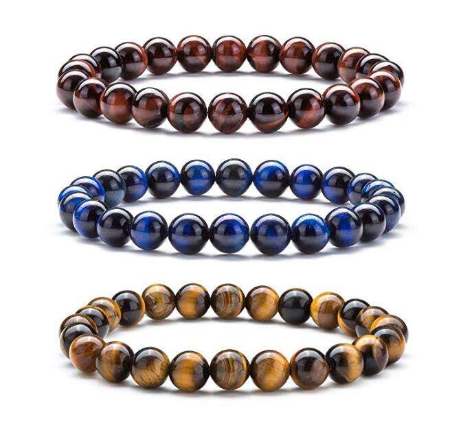 Bead [ Bracelet ] Stone Bracelet Natural Tiger Eye Stone Elastic Yoga Agate Beads Bracelet Bangle For Women Men
