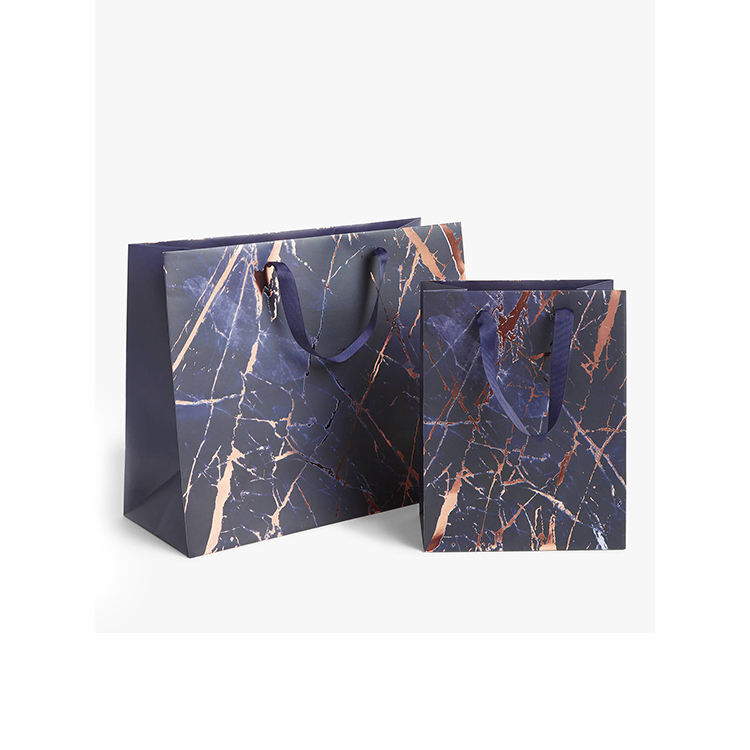 Wholesale custom large matt black laminated elegant boutique 250gsm art paper shopping bag marble gift bag