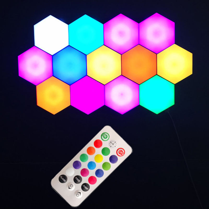 Newish Hotel Modern Fancy RGB Interior Indoor Room Remote Control Quantum Honeycomb Touch Led Wall Light