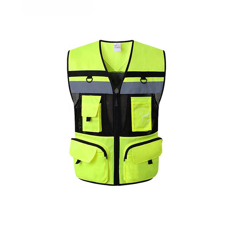 Oem Odm Cool Reflective Vest Yellow Motorcycle Reflective Safety Vest With Zipper Windproof From Ruiniu Manufacturer