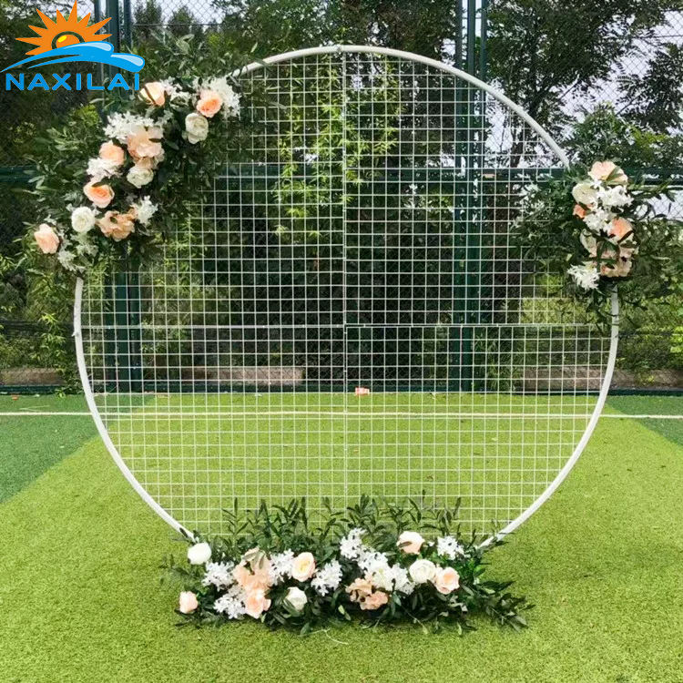 NAXILAI Round Arch Circular White Party Wire Backdrops Mesh Backdrop Mesh Wall Screen For Quince Decor