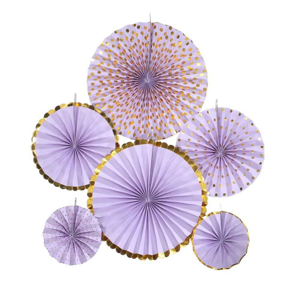 Hot Sale China Party Supplies 6Pcs 8Pcs Set Paper Fan Popular Happy Birthday Decoration Favor Gold Silver Party Paper Fans 80399