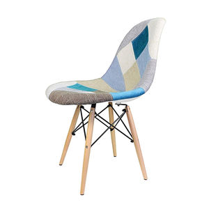 New PP Seat Beech Wood Leg Patchwork Color Fabric Covered Chair Modern Dining Chair