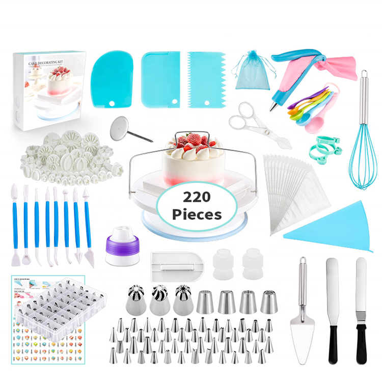 Amazon Hot Sale 220pcs / lot Cake Decorating Tools Kit Turntable Set Bakeware Sets