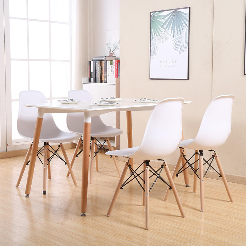 Hot sale dining room furniture MDF top tables wooden legs free sample cheap dining table