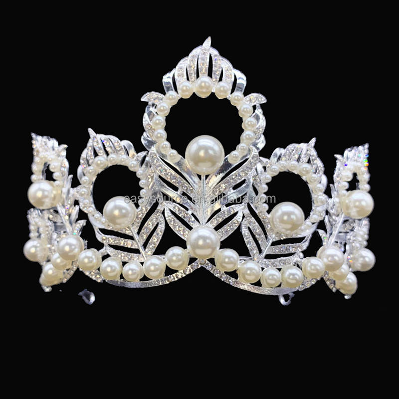 RE4151 Miss USA Tiara Pearl Peacock Feather Pageant Crown Miss Universe Tiara