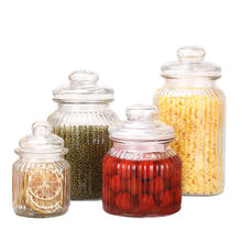 Set Of 4 glass storage jars ribbed glass for Tea Coffee Sugar Preserving/glass canister set 350ml 650ml 1000ml 1350ml