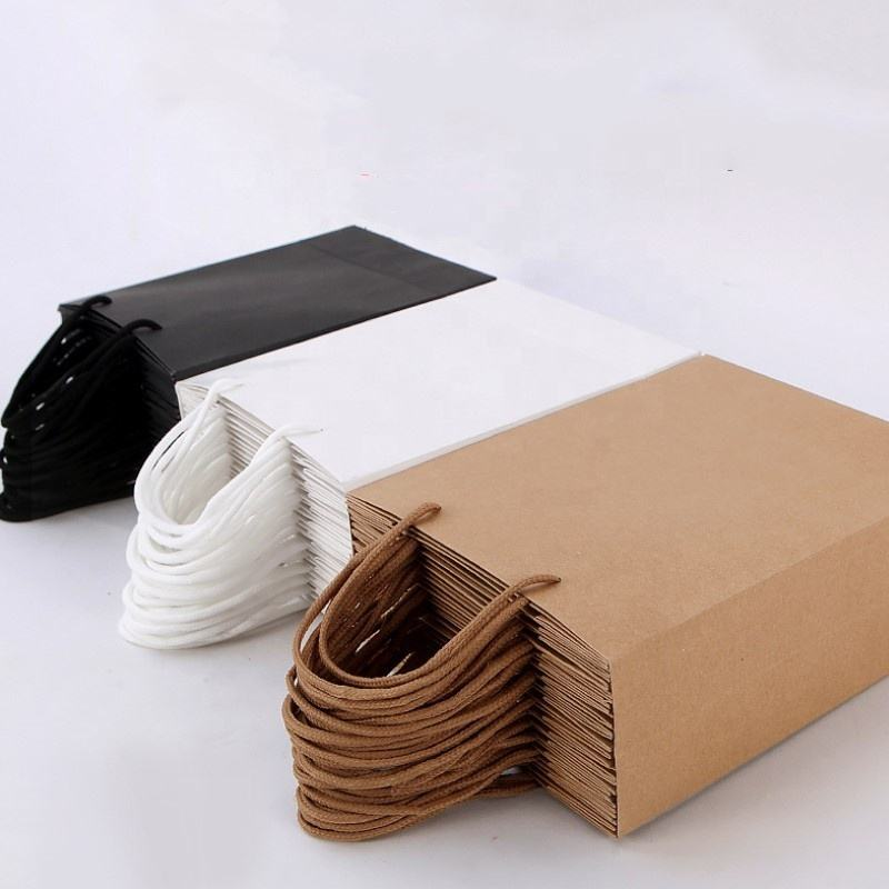 Sturdy White Kraft Paper Bag With Logo Print Shopping Gift Packaging Bag