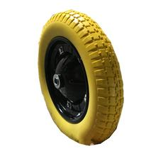325-8 pu foam wheel for wheelbarrow and trolley with solid yellow tire from china supply