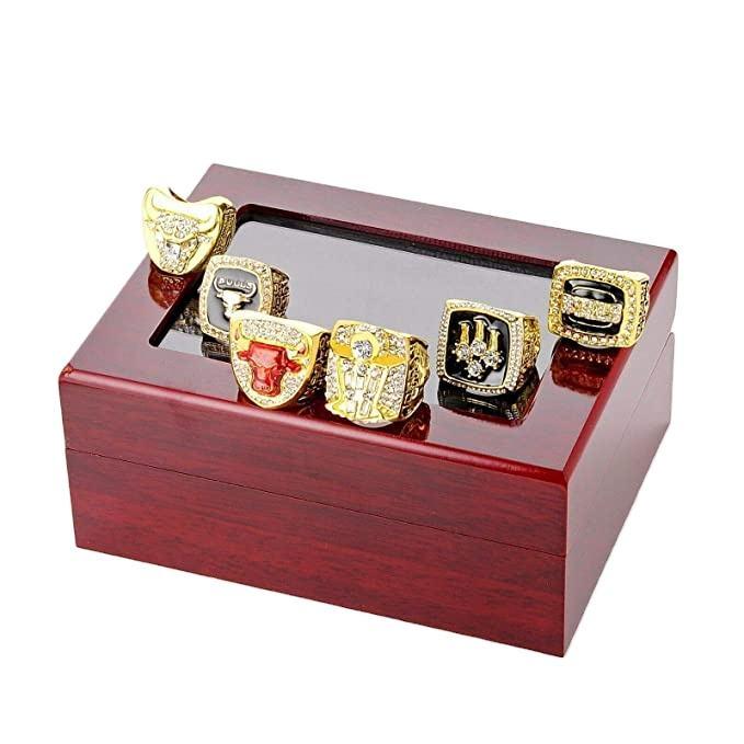 Wholesale1991 1992 1993 1996 1997 1998 Bulls Basketball Champions Ring Box for Men 6pcsSet