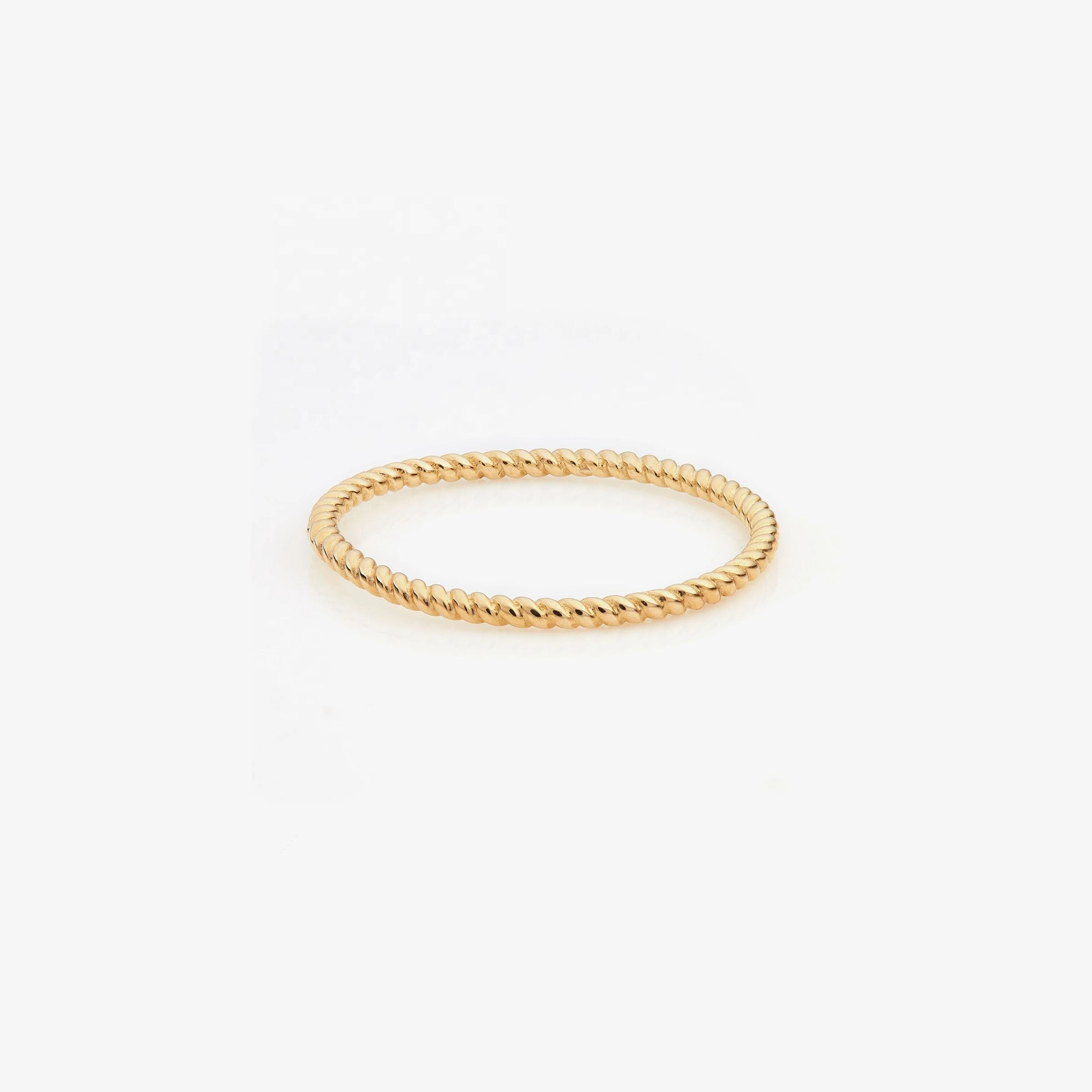 LOZRUNVE Custom Jewelry Gold Twisted Thread Stackable Ring for Women Silver 925