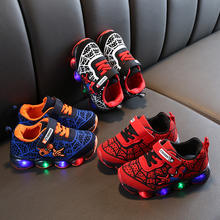 Manufactory Price Amazon Best Seller kids light shoes hook and loop LED cartoon Boys Shoes