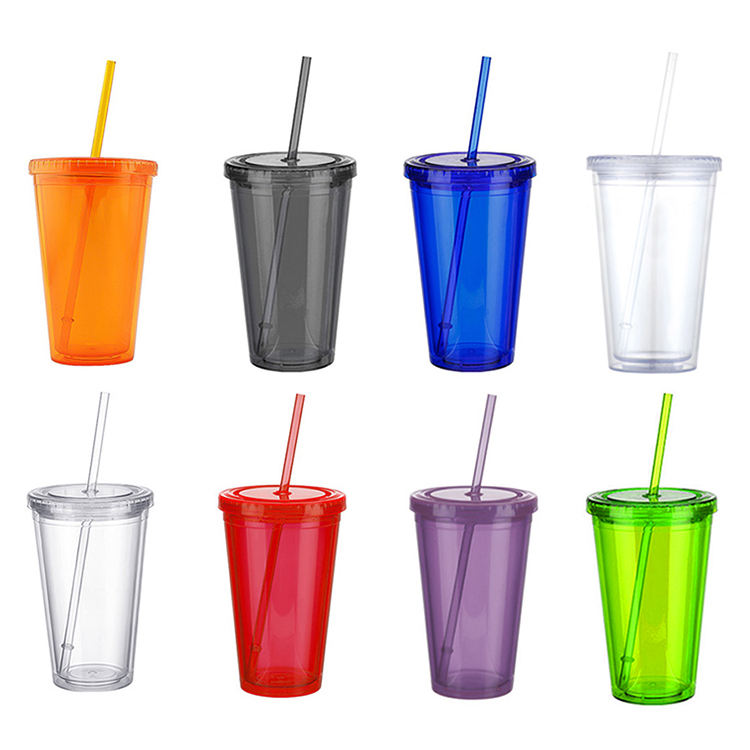 Eco Friendly Double Wall Tumbler 16oz Plastic Reusable Cups With Lids And Straw