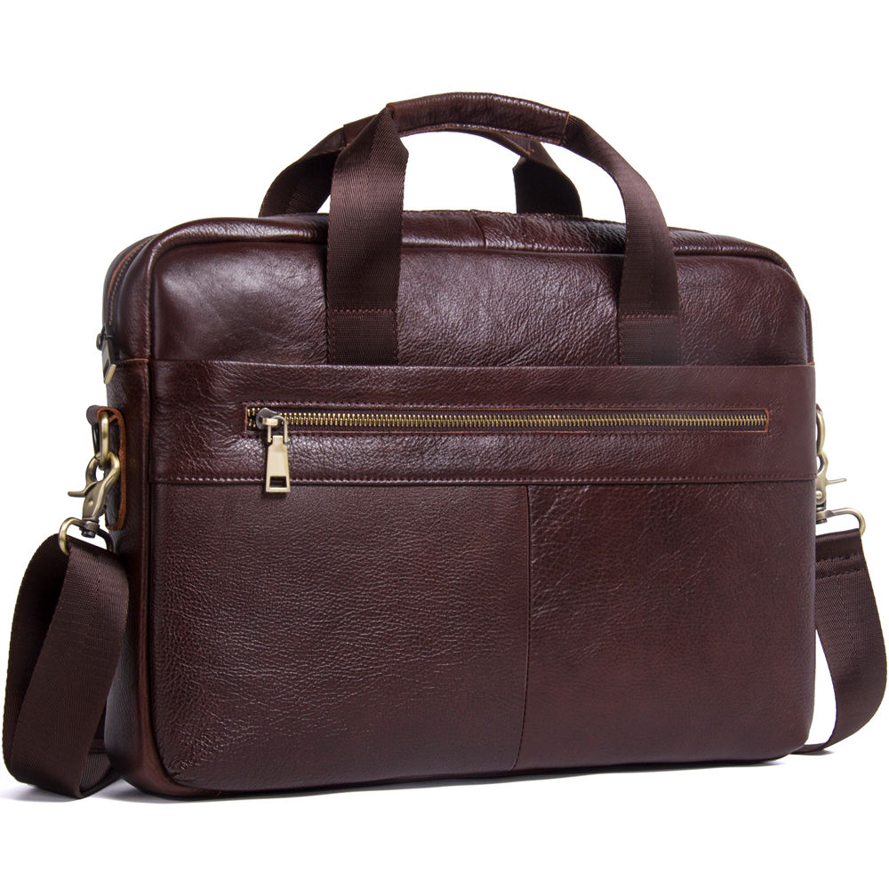 Vintage Men's Genuine Leather Messenger Bag Male Business Laptop Computer Briefcase Zipper Front Pocket Shoulder Handbag For Man