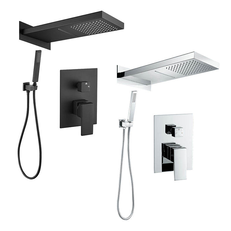Luxury home black chrome color bathroom concealed Shower faucet with big head