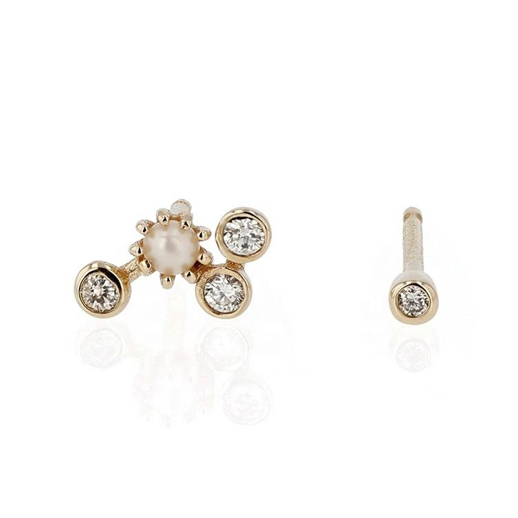 gold plated jewelry latest gold pearl stud round earring designs