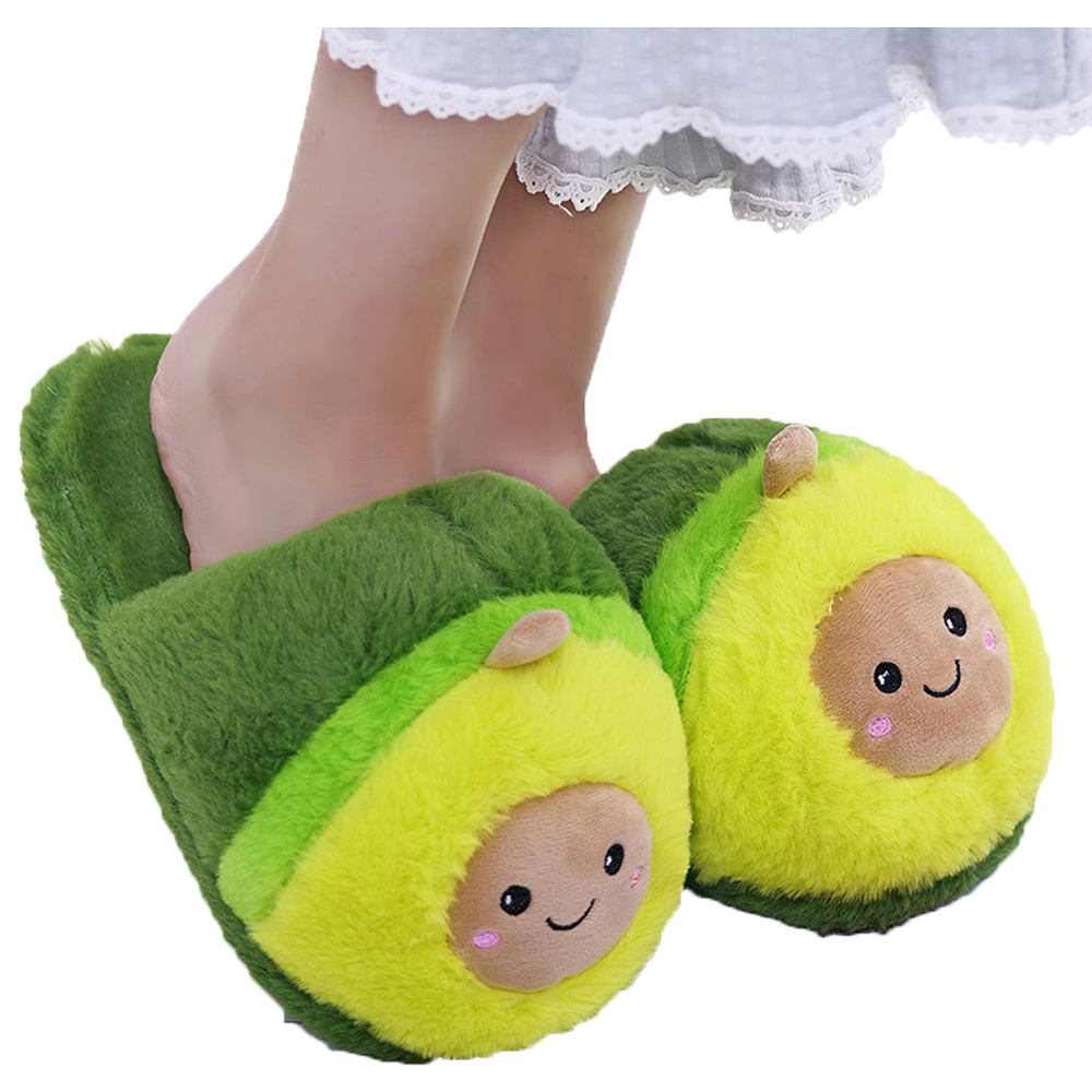 Custom plush women cute avocado indoor slippers cartoon thermal slippers winter plush avocado slippers