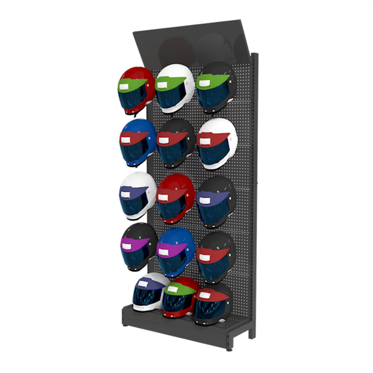 Hot sale metal retail pegboard Floor type shelf helmet display stand rack ski helmet display rack