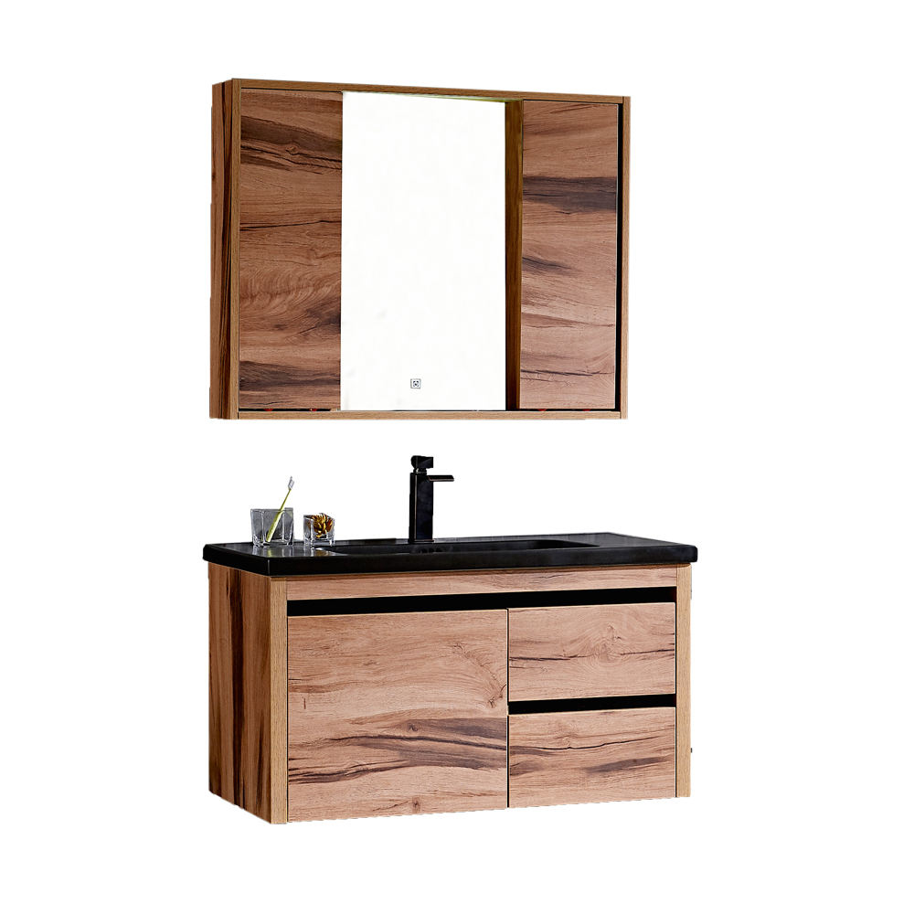 Classic hand wash bathroom furniture wall hung wood cabinet with mirror touch led light