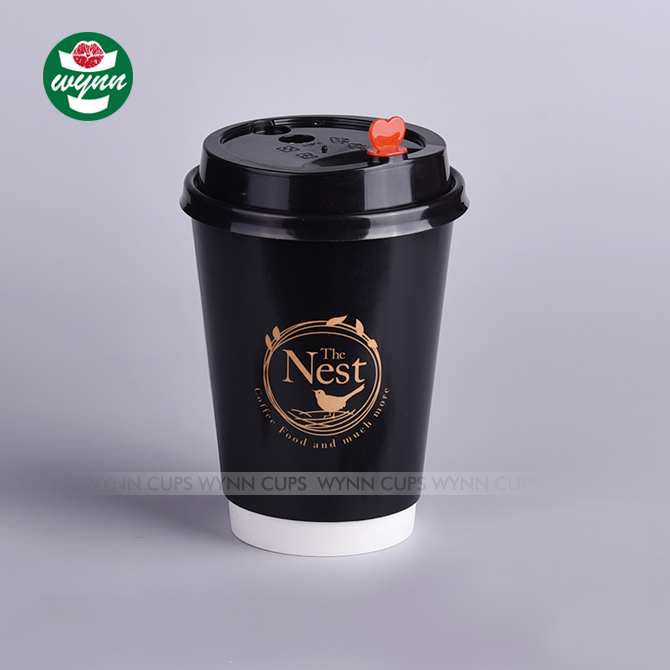 Custom Printed black Hot double wall biodegradable coffee Disposable paper cups wholesale