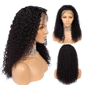 Hinarin Wholesale Glueless Brazilian Virgin Human Hair Kinky Curly 13*6 Lace Front Wig With Double Drawn Baby Hair Wigs