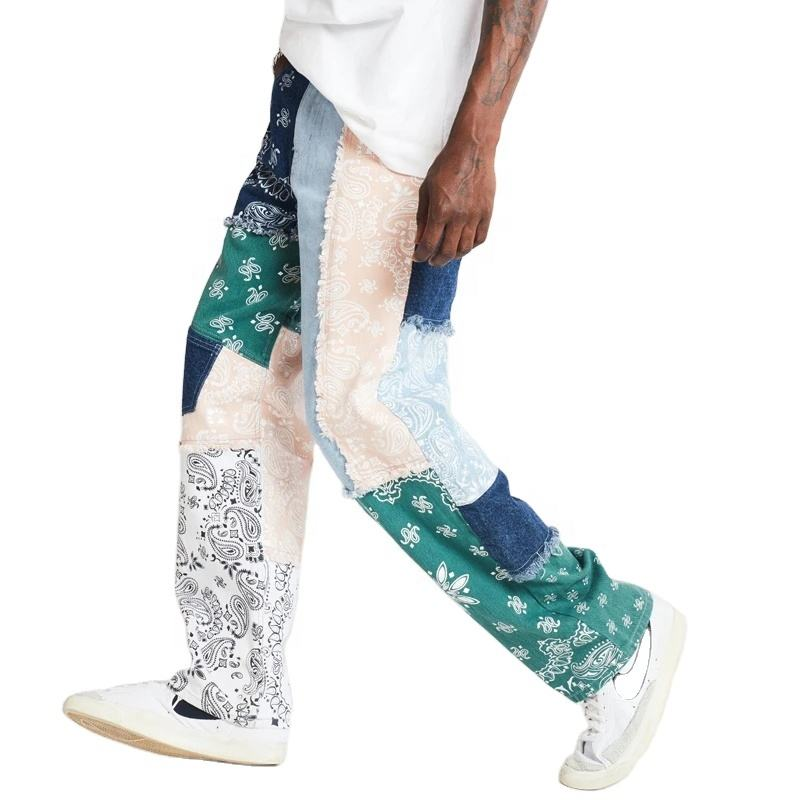 DiZNEW High Quality Patchwork Bandana Loose Fit Printed Denim Jeans Men