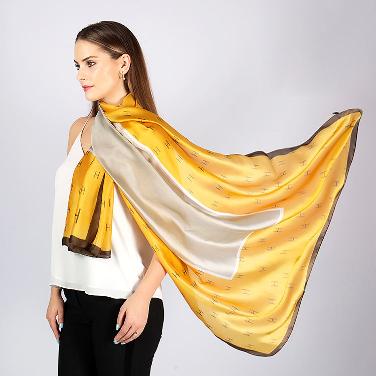 Fashionable Design Long Silk Satin Shawl Scarf Printing Satin Silk Scarf