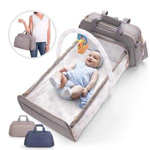 wholesale lequeen waterproof mommy care baby diaper backpack bag set travel mummy baby with stroller buckle and bed