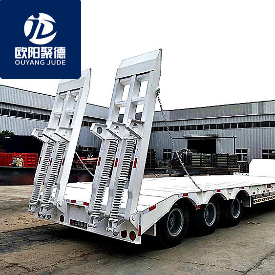 Flatbed Semi Trailer [ Flatbed Semi Trailer ] Semi Trailer Special Customized Use Excavator Bulldozer Road Roller Construction Machinery Transport Low Bed Flatbed Semi Trailer On Sale