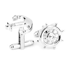 Brand new Fashion design men's French suit shirt Cufflinks button silver anchor rudder aircraft modeling Cufflinks wholesale