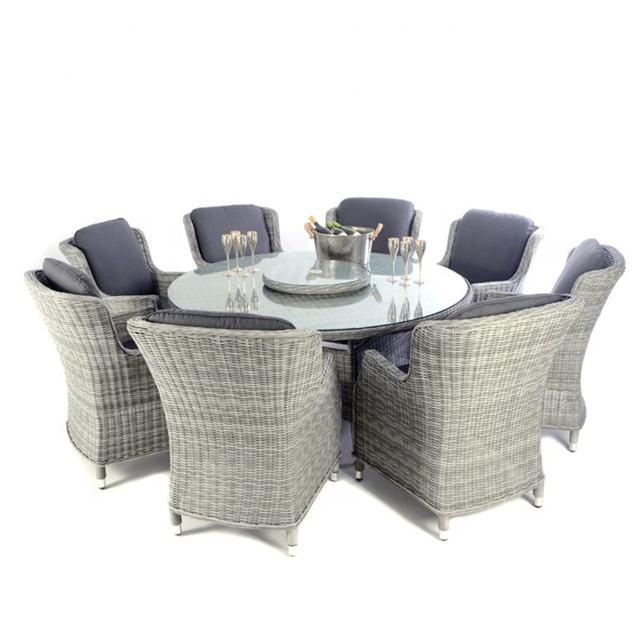 Audu Rattan Victoria Round Table and Eight Chairs