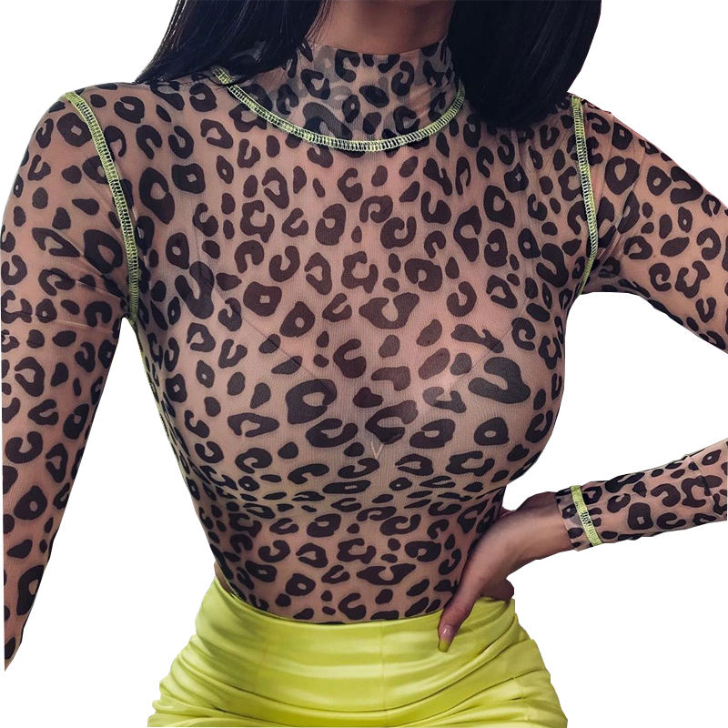 Latex Fashion Sheer Sehen Durch High Neck Langarm Ouvert Bodycon Netz Frauen Sexy Rave Neon Leopard Body
