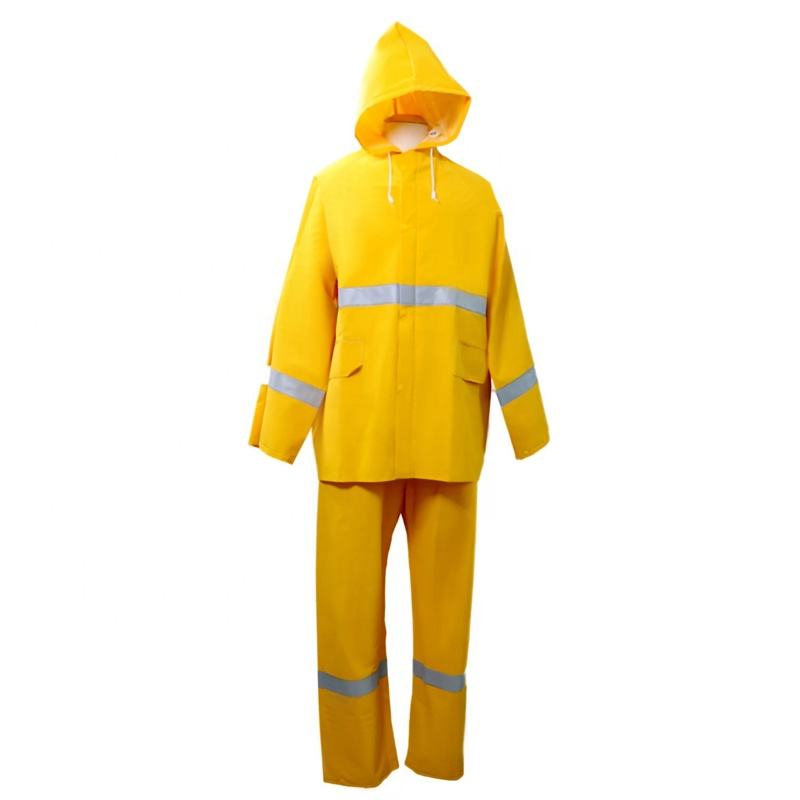 Two pieces waterproof oil chemical resistant reflective raincoat custom logo pvc polyester men rainsuit